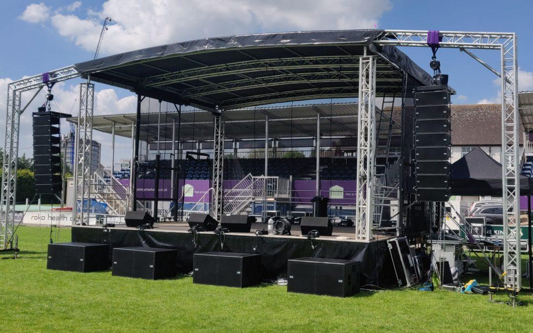Large Line Array Set Up On Stage